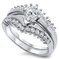 Matching Sterling Silver with Crown Bridal Set Cubic Zirconia Rings