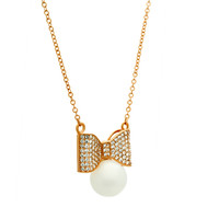 Elegant Pearl Bow Necklace with Cubic Zirconia