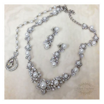 Wedding jewelry set, Bridal pearl & crystal l back drop necklace and earrings, vintage inspired crystal pearl necklace statement