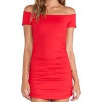 Susana Monaco Jona Off the Shoulder Rouched Tunic in Red