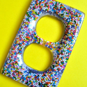 Candy Coated Dreams - Resin Sprinkle Candy and Glitter Filled Outlet Cover - Handmade Resin Housewares