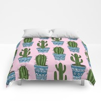 Cactus Pattern (Pink) Comforters by Sarah Oelerich