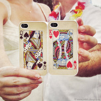 King and Queen SET of 2 iPhone 4 Cases. Wedding / Anniversary Gift. Vintage playing cards. READY to SHIP Accessory for iPhone 4 and 4s.