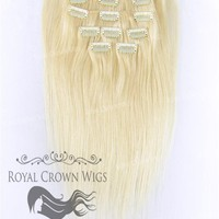 Brazilian 9 Piece Straight Human Hair Weft Clip-In Extensions in #613
