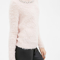Rhinestoned Fuzzy Knit Sweater