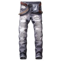 2018 high quality Mens Ripped Biker Jeans Pleated Straight Skinny Stretch Motorcycle Hole Casual Denim Pants Red Blue Trousers