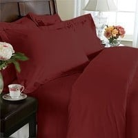Clara Clark Complete 7 Piece Bed Sheet and Duvet Cover Set, Queen Size, Burgundy Red