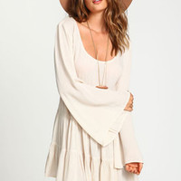 Crepe Tiered Bell Sleeves Dress - LoveCulture