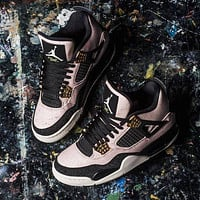 "Nike AIR Jordan 4 AJ4 ""black-white pink gold"" fashion men's and women's casual sports shoes high-top basketball shoes"