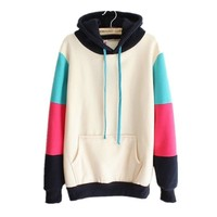 Omine Women's Active Colorblock Graphic Pattern Fashion Hoodie Sweatshirt Beige One Size