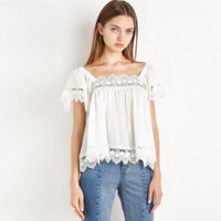 Fashion Lace Stitching Solid Color Backless Short Sleeve Women T-shirt Tops