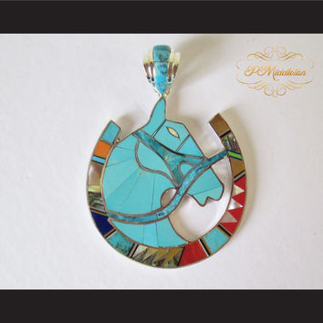 P Middleton Equine Horseshoe Pendant Sterling Silver 925 with Semi-Precious Stones