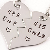 2 Piece Her One His Only Heart Necklace Set | Couples Jewelry | Boyfriend Girlfriend Gift | Stainless Steel