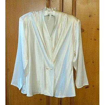 J.H. Collectibles Silk Drape Front Ivory Blouse.