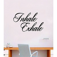 Inhale Exhale v3 Quote Decal Sticker Wall Vinyl Art Decor Room Teen Kids Namaste Yoga Om Meditate Zen Buddha Relax Breathe