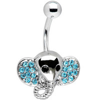 body jewelry cute elephant Belly button Ring rhinestone inlaid silver piercing Accessary 316Lmedical stainless steel navel ring/nail