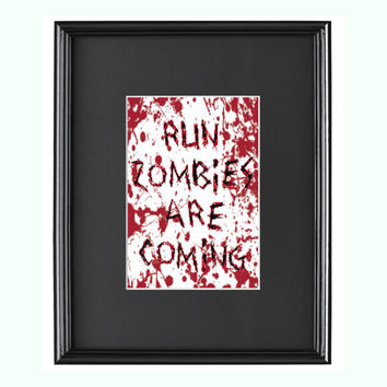 Run Zombies Are Coming Halloween Gory Cross Stitch Pattern
