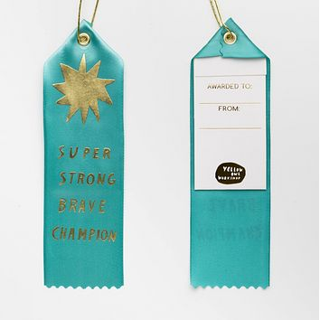 Super Strong Brave Champion Ribbon Award in Aqua with Gold Font