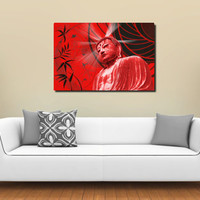 Large XL Abstract Print on Canvas Red Buddha 36x24 Limited Edition