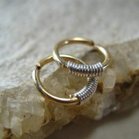 Hoop Earrings Gold with Silver Thick Gauge Endless