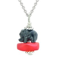 Sea Glass Royal Red Frosted Cloud Black Elephant Lucky Charm Magic Amulet Pendant 18 Inch Necklace