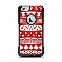 The Red and White Christmas Pattern Apple iPhone 6 Otterbox Commuter Case Skin Set