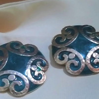 Substantial Large Shield Hammered GoldScroll Enameled Teal Green Vintage Early 1980's Decorative Arts Pierced Post Earrings Ear Bobs
