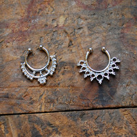Tribal Faux Septum Piercing , Silver Clip On Septum Ring