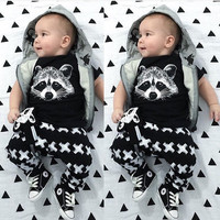 Cute Boys Raccoon Shirt and Pants Set