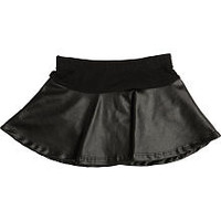 Kardashian Kids Girls Black Leatherette Flared Skirt with Attached Diaper Cover