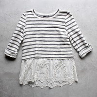 Striped Button Up Back Vintage Lace Hem Women's Sweater Top