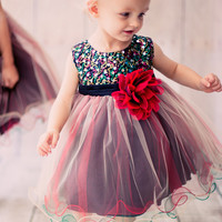 Girls Red Sequined Party Dress with Colorful Tulle Layers 3m-24m