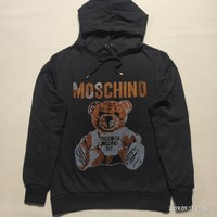 """""""Moschino"""" Woman Leisure Fashion Wild Letter Bear Drill Printing Hooded  Long Sleeve Tops"""