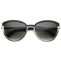 Women's Dual Tone Color Metal Cat Eye Sunglasses 9870