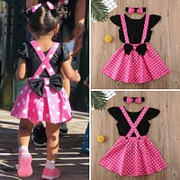 US 3PCS Toddler Baby Girl Clothes Tops Romper Suspender Dress Summer Outfits Set