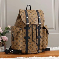 Louis Vuitton LV retro large-capacity zipper backpack men and women fashion shoulder bag duffel bag shoulder bag