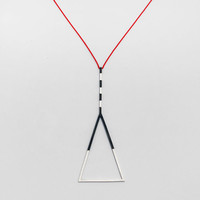 """Geometric silver necklace. """"False Warnings"""" collection. Statement necklace.Handmade."""