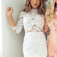 White Lace Long Sleeeve Homecoming Dresses,Mini Short Homecoming Dresses with  Applique
