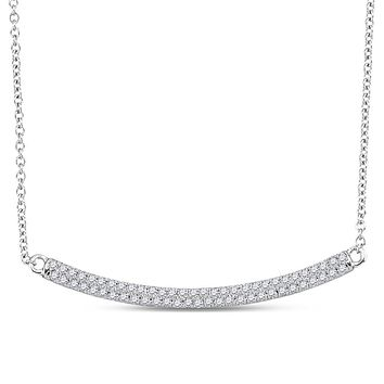 10k White Gold Round Diamond Curved Horiontal Bar Pendant Necklace 1/3 Cttw