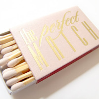 The Perfect Match Matchbox Wedding Favor Foil Stamped Matches Sparklers Custom Names Date Rehearsal Dinner Bridal Shower Personalized Colors