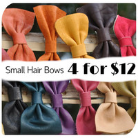 Small Leather Hair Bows - 4 for 12
