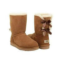 ugg bow leather boots boots in tube-5