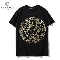Versace New fashion human head print couple top t-shirt Black