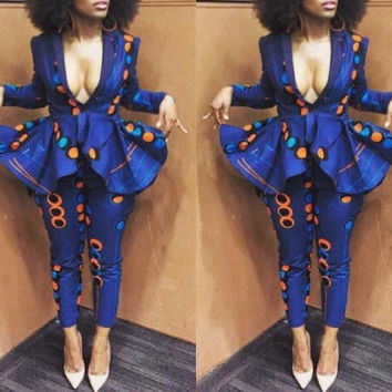 NuVu Jacket with peplum and Pants, african jumpsuit, ankara, african print, african clothing, african dress, the african shop, africa