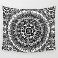 Black and White Mandala Pattern Wall Tapestry by Laurel Mae
