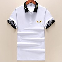 Fendi New Embroidered Devil Eye POLO Shirt Half Sleeve T-Shirt white