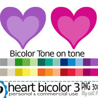 Bicolor heart  - Clipart - 30 colors - 30 PNG files - 300 dpi - Instant download - Transparent PNG-  valentine's day - tone on tone-CA24