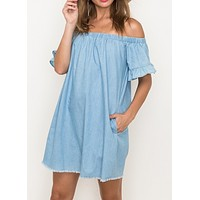 Chambray On Vacay Dress