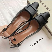 MARNI Manit fashionable retro frosted square button women casual sandals
