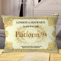 Harry Potter inspired Hogwarts Ticket on Rectangle Pillow Cover